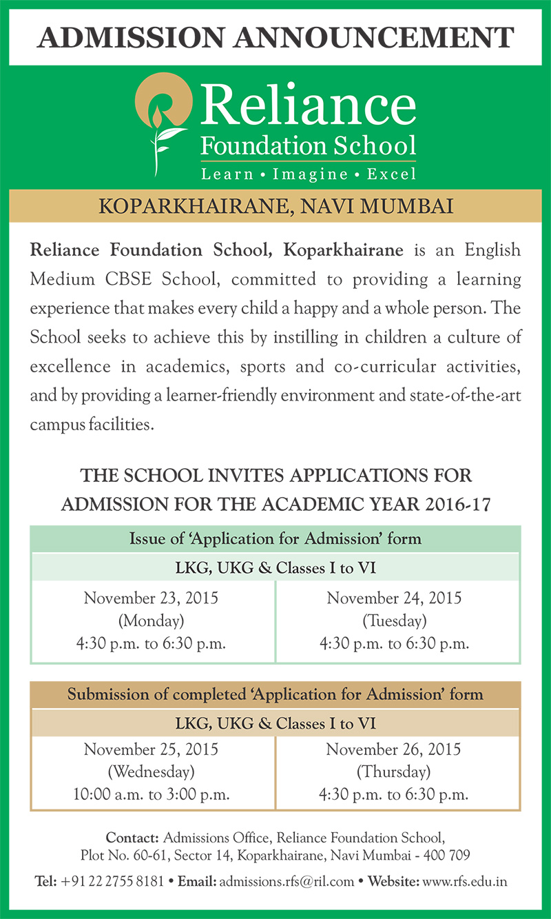 Reliance Foundation School Admission Announcements | CBSE ...